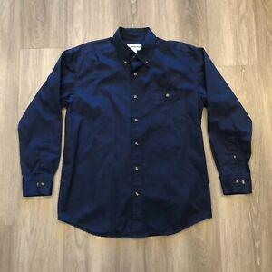 Boeing Mens Medium Embroidered Logo Navy Button Up Shirt 100 Cotton