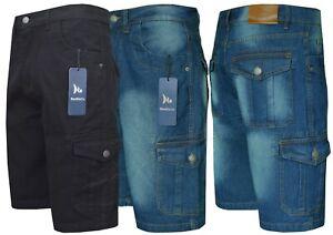 "Mens Denim Shorts Cargo Combat 100% Cotton Knee Length Pants 32""-50"" by Beebizco"