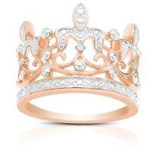 STERLING SILVER DIAMOND CROWN PRINCESS RING ROYALTY QUEEN FASHION WHITE DIAMOND