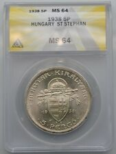 Hungary 1938 Silver 5 Pengo Silver Coin KM#516 Blast White Near Gem ANACS MS 64