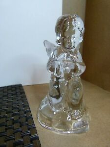 glass angel candle holder with frosted glass wings