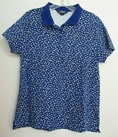 Lands' End knit polo shirt Med. Pet. short sleeves cotton blue spotty print golf