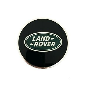ONE (1) Land Rover Black + Green Oval Polished Wheel Center Hub Cap Genuine
