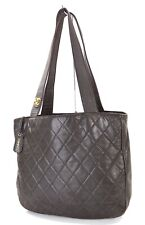 Authentic CHANEL Brown Quilted Leather Shoulder Tote Bag Purse #32236