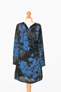 LADIES DESIGNER SANDWICH GREY / BLACK / BLUE DRESS WITH A SLIP SIZE EU 36