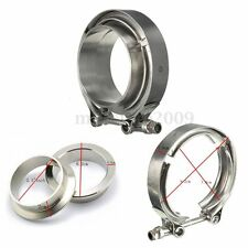 2.5'' 63mm Universal Stainless V-Band Clamp Kit Flanges Turbo Exhaust Downpipe
