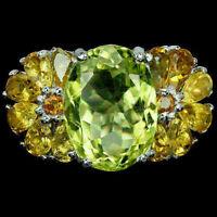 Ring Lemon Quartz Golden Citrine Genuine Gems Sterling Silver Size R 1/2 US 9