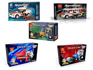 GIFT PACK -CONSTRUCTION & FIRE ENGINE BUILDING BLOCKS (5 SETS IN GIFT PACK)