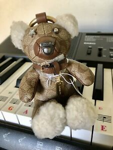 Coach Bear Bag Charm In Signature Canvas Keychain Collectible Limited Edition