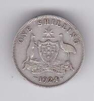 1924 Sterling Silver Shilling Coin Australia King George  W-685