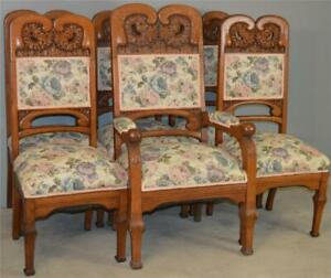 18587 Set of 6 Carved Oak Dining Chairs