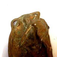Antique Art Deco Art Nouveau Bronze Mermaid Female Woman Nude Tray Candy Dish