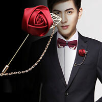Men Suit Brooch Pin Lapel Flower Rose for Wedding Boutonniere Stick for Men Gift