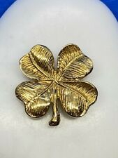 Luck of the Irish Pin Brooch 14K Yellow Gold Four (4) Leaf Clover