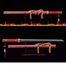 Flame Handmade Genuine Rayskin Wrapped Chinese Dao Clay Tempered Blade Sword