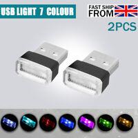 2Pc USB Mini LED Car Interior Light Neon Atmosphere Tube Neon Lamp  Decor AN