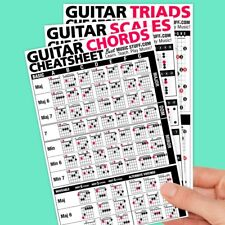 JUMBO Guitar Cheatsheet Bundle Quick Reference 3 PACK (Laminated & Double Sided)