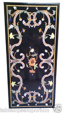 2'x3' Black Marble Dining Room Tables Gems Inlay Stones Housewarming Gift Decor