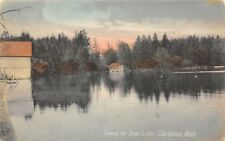 Clarkston Michigan~Cabin & Boat House Reflect on Deer Lake~1910 Handcolored PC