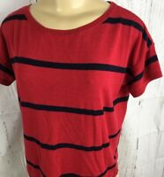 Talbots Blouse Shirt Top Short Sleeve Striped  Scoop Neck Red Blue Women M EUC