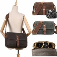 Canvas Waterproof Camera Bag DSLR SLR Lens Padded Bag Pouch Travel Shoulder Bag