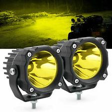 Pair Amber LED Work Light Bar Pods Spot Driving Fog Lamp for Jeep Truck ATV UTV