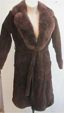 FAll WINTER SAKS FIFTH  AVENUE Brown Suede Leather Faux Fur Coat With Belt Sz S