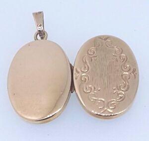 9k Rose Gold Engraved Oval Photo Locket Pendant 15x20mm