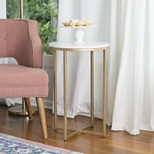 """NEW WE Furniture 16"""" Round Side Table  Marble/Gold FREE SHIPPING"""