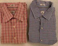 Peter Millar Mens Plaid Short Sleeve Button Down Shirt Size L Lot of 2