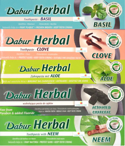 5 DABUR HERBAL TOOTHPASTE - BASIL, ALOE VERA, CHARCOAL, NEEM, CLOVE - 5X100ml