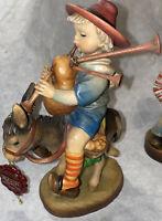 "Anri Italy Musical Ride Boy Riding Donkey Wood Carved Figure 7 1/2"" Ferrandiz!"