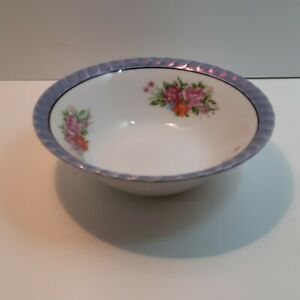 "Yamatsu Luster-ware serving bowl 7"" diam Blue with floral bouquet"
