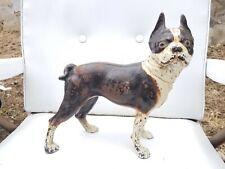 Antique Hubley Cast Iron Boston Terrier Bull Dog Doorstop Figure Original Paint
