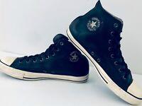 Converse All Star Chuck Taylor Black Soft Leather Hi Top Shoes Men Gold Logo 13