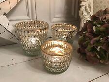 Set of 3 Antique Silver Mercury Glass Votive Candle Tealight Holders Wedding