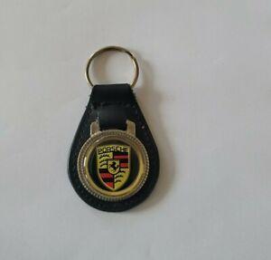 Porsche 911 912 930 Leather Key Chain Ring Fob - Vintage Rare