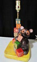 Tuscany Studio Lamp w/ Alphabet Blocks Brown Teddy Bear Childs Nursery Room S-13