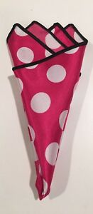 Pocket Square Polka Dot Rose Pink And Black Stitched Borders By Squaretrapny.com