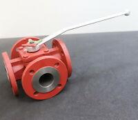 TUFLIN Vierwegehahn DN50 PN40 GGG40 PN10-40 Art.Nr 147-4206018 mit Verstellhebel
