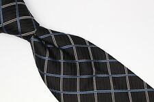 Michelsons London Silk Neck Tie Black Blue White Crossover Check Weave Plaid