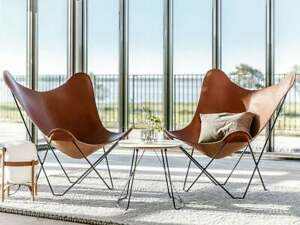 2PCS Retro Handmade leather butterfly Relax chair living room with Frame stand