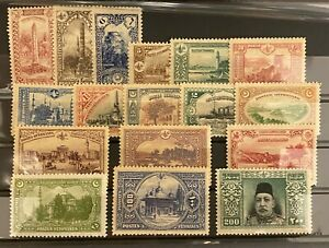 Turkey Ottoman 1914 Istanbul Pictorial London Printing Stamps SET SG #499/515