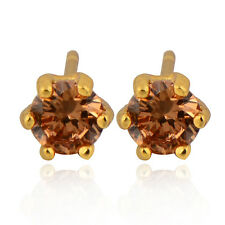 Womens Champagne Crystal Crystal Round Stud Earrings Yellow Gold Filled