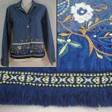 Blue Denim Jean Button Down Shirt or Jacket Floral Embroidery Fringe Border Sm