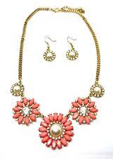 Neues AngebotPink & Perle Perlen Blume Kristall Gold Halskette & Ohrringe Set