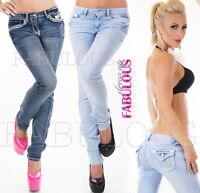 Sexy Women's Straight Leg Stretch Jeans Denim Size 8 10 12 14 16 S M L XL XXL