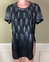 3.1 Phillip Lim Womens Top Black White Wheat Print Silk Embellished Sheer Size 2