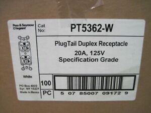Legrand PT5362-W Plug Tail Duplex Receptacle 20A 125V BOX OF 100