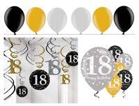 Swirl + Luftballons 18. Geburtstag gold silber schwarz Geburtstagsdeko Deko Set